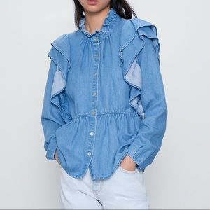 🛍💙 NWOT ZARA Ruffled denim shirt